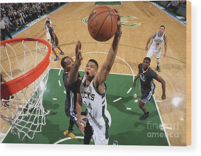 Nba Pro Basketball Wood Print featuring the photograph Kevin Durant and Giannis Antetokounmpo by Gary Dineen