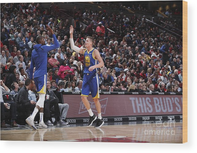 Nba Pro Basketball Wood Print featuring the photograph Kevin Durant and Jonas Jerebko by Jeff Haynes