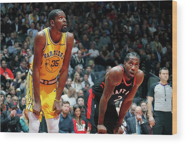 Nba Pro Basketball Wood Print featuring the photograph Kevin Durant and Kawhi Leonard by Mark Blinch