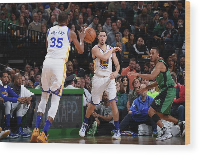 Nba Pro Basketball Wood Print featuring the photograph Kevin Durant and Klay Thompson by Brian Babineau