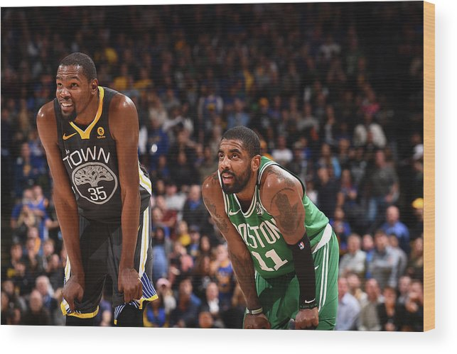 Nba Pro Basketball Wood Print featuring the photograph Kevin Durant and Kyrie Irving by Noah Graham