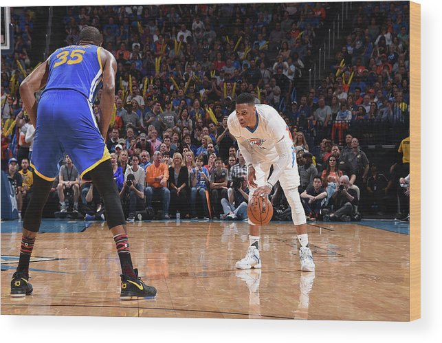 Nba Pro Basketball Wood Print featuring the photograph Kevin Durant and Russell Westbrook by Andrew D. Bernstein
