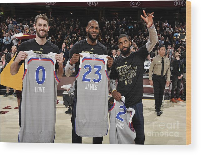 Nba Pro Basketball Wood Print featuring the photograph Kevin Love, Kyrie Irving, and Lebron James by David Liam Kyle