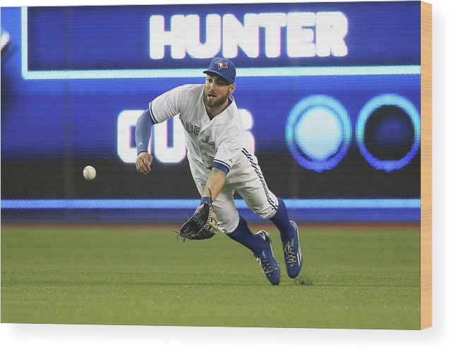 Ninth Inning Wood Print featuring the photograph Kevin Pillar and Dee Gordon by Tom Szczerbowski