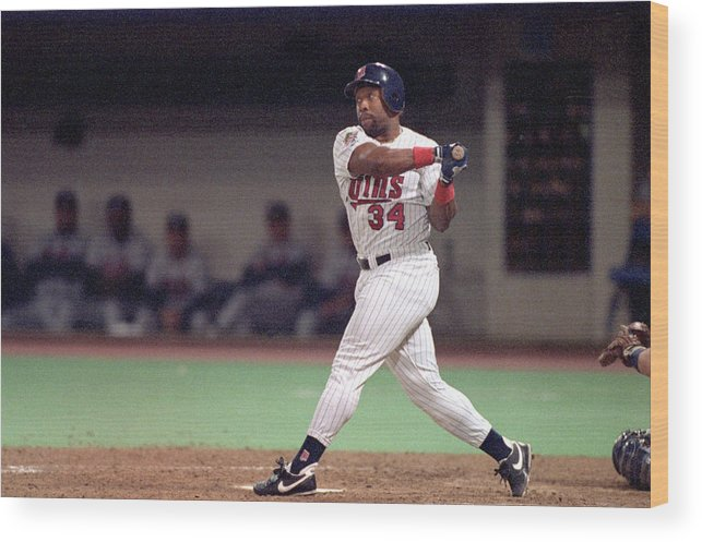 Hubert H. Humphrey Metrodome Wood Print featuring the photograph Kirby Puckett by Rick Stewart