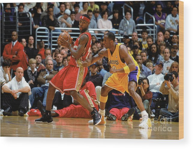 Nba Pro Basketball Wood Print featuring the photograph Kobe Bryant and Lebron James by Andrew D. Bernstein