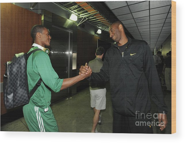 Playoffs Wood Print featuring the photograph Kobe Bryant and Rajon Rondo by Andrew D. Bernstein