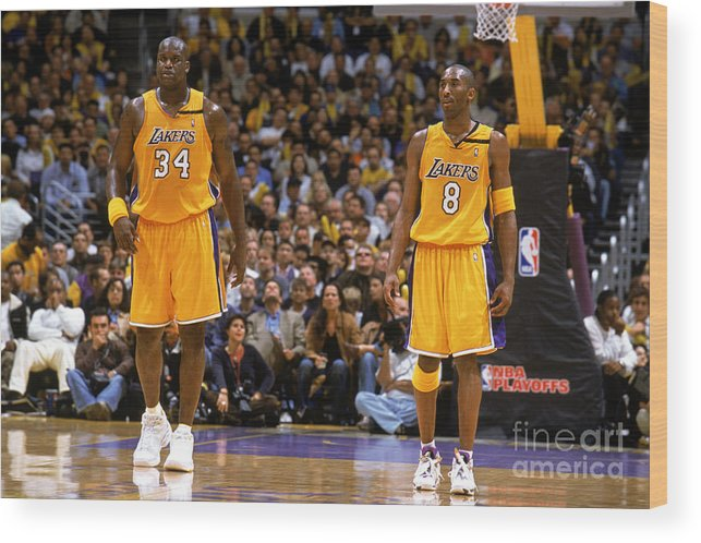 Playoffs Wood Print featuring the photograph Kobe Bryant and Shaquille O'neal by Andrew D. Bernstein