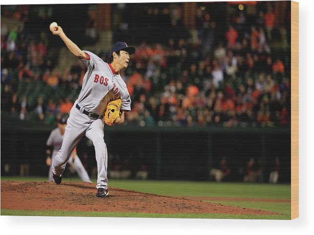 Ninth Inning Wood Print featuring the photograph Koji Uehara by Rob Carr