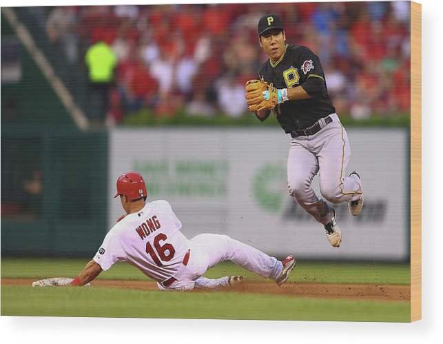 St. Louis Cardinals Wood Print featuring the photograph Kolten Wong and Jung Ho Kang by Dilip Vishwanat