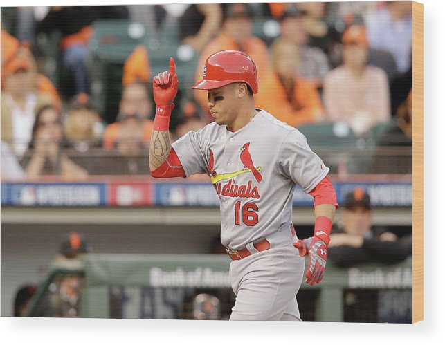 St. Louis Cardinals Wood Print featuring the photograph Kolten Wong by Ezra Shaw