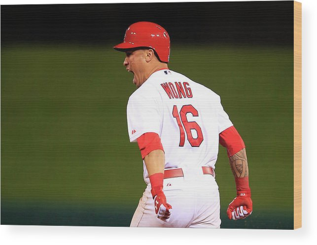 St. Louis Cardinals Wood Print featuring the photograph Kolten Wong by Jamie Squire