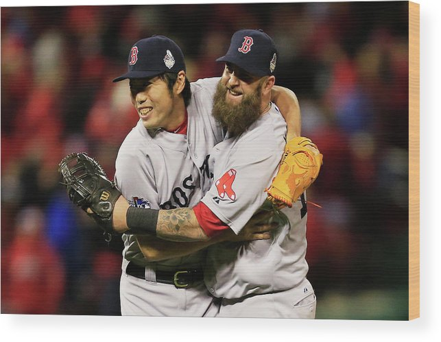 American League Baseball Wood Print featuring the photograph Kolten Wong, Mike Napoli, and Koji Uehara by Dilip Vishwanat