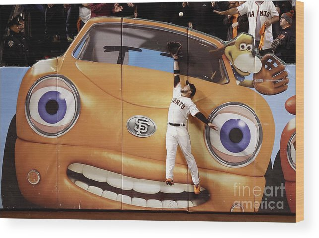 San Francisco Wood Print featuring the photograph Kris Bryant and Gregor Blanco by Ezra Shaw