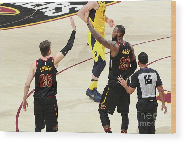 Playoffs Wood Print featuring the photograph Kyle Korver and Lebron James by Nathaniel S. Butler