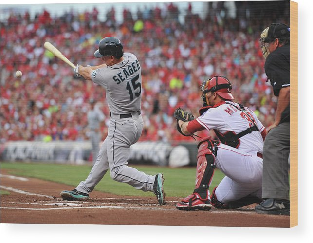 Great American Ball Park Wood Print featuring the photograph Kyle Seager by Jamie Sabau