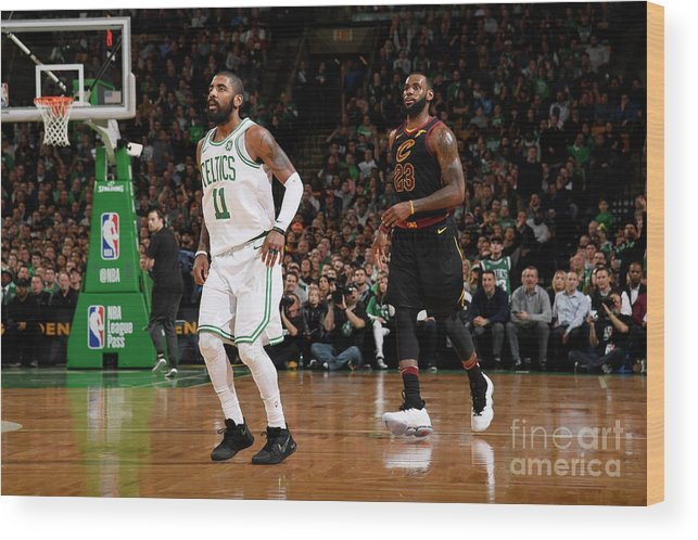 Nba Pro Basketball Wood Print featuring the photograph Kyrie Irving and Lebron James by Brian Babineau