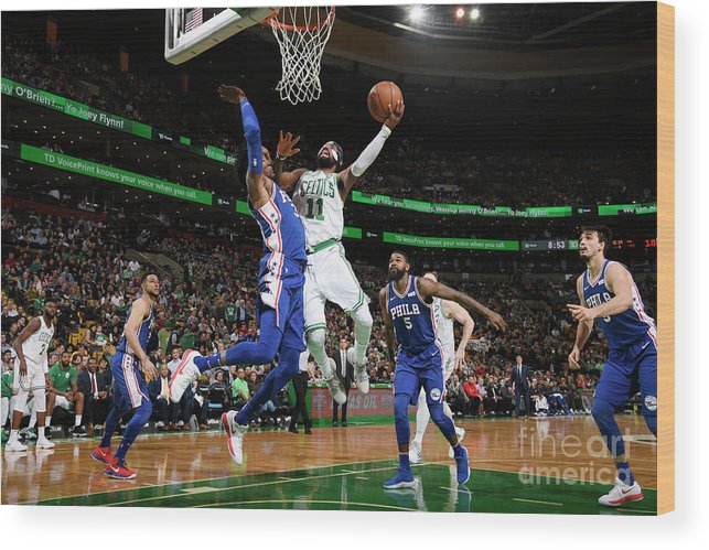Nba Pro Basketball Wood Print featuring the photograph Kyrie Irving and Robert Covington by Brian Babineau
