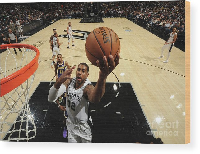 Nba Pro Basketball Wood Print featuring the photograph Lamarcus Aldridge by Bill Baptist