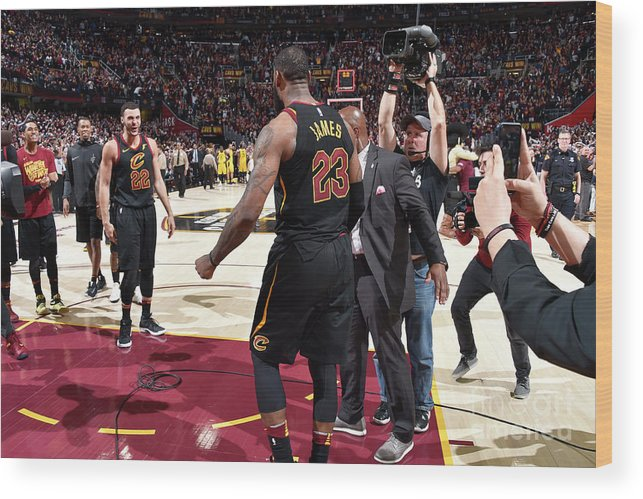Playoffs Wood Print featuring the photograph Larry Nance and Lebron James by David Liam Kyle