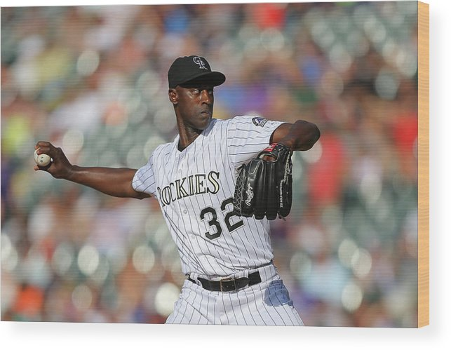 Ninth Inning Wood Print featuring the photograph Latroy Hawkins by Justin Edmonds