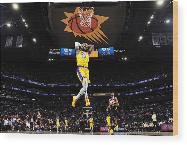 Playoffs Wood Print featuring the photograph Lebron James by Barry Gossage