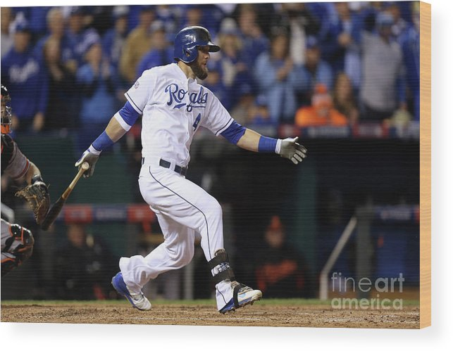 People Wood Print featuring the photograph Lorenzo Cain, Alex Gordon, and Wei-yin Chen by Ed Zurga