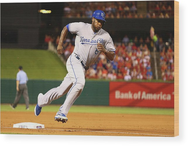 American League Baseball Wood Print featuring the photograph Lorenzo Cain by Dilip Vishwanat