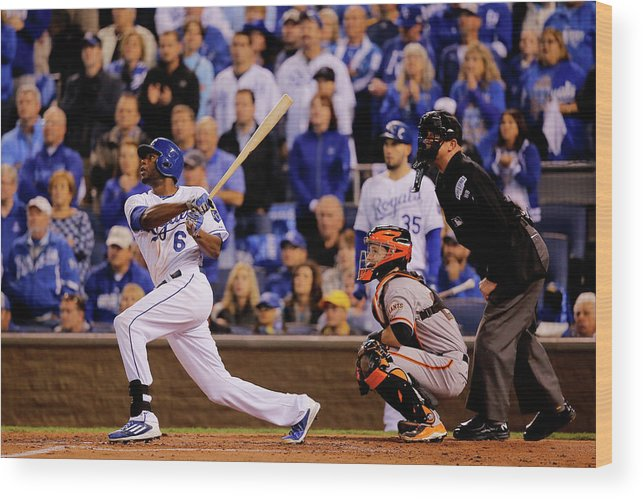 Second Inning Wood Print featuring the photograph Lorenzo Cain by Doug Pensinger