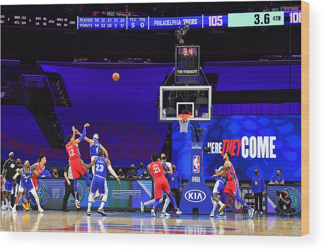 Wood Print featuring the photograph Los Angeles Lakers v Philadelphia 76ers by Jesse D. Garrabrant