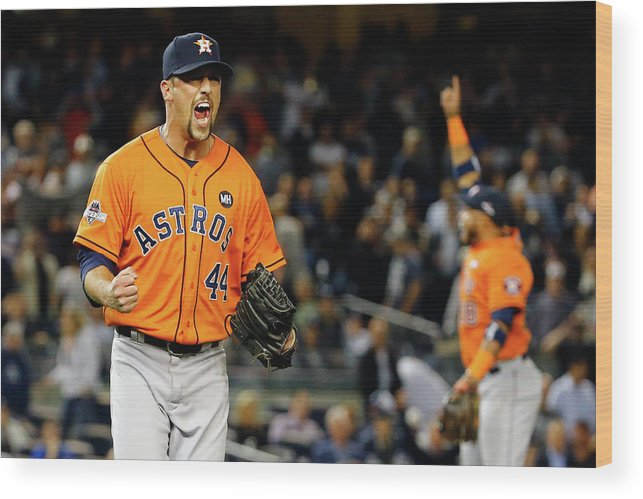 Playoffs Wood Print featuring the photograph Luke Gregerson and Luis Valbuena by Al Bello