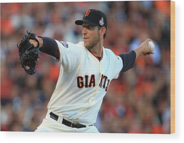 Game Two Wood Print featuring the photograph Madison Bumgarner by Doug Pensinger