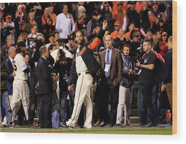 Crowd Wood Print featuring the photograph Madison Bumgarner by Rob Carr