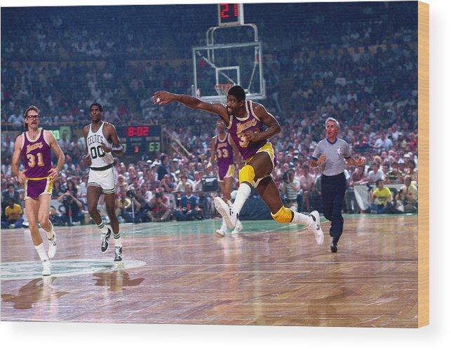 1980-1989 Wood Print featuring the photograph Magic Johnson by Dick Raphael