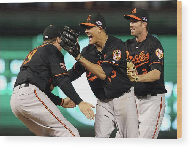 Playoffs Wood Print featuring the photograph Manny Machado and Chris Davis by Ronald Martinez