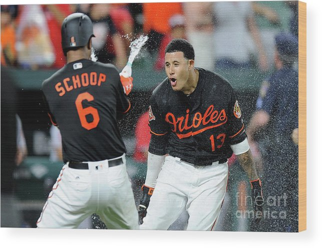 Three Quarter Length Wood Print featuring the photograph Manny Machado and Jonathan Schoop by Greg Fiume