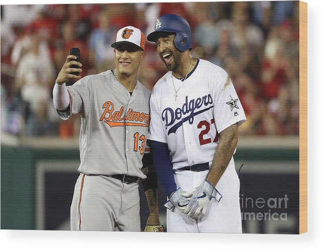 Second Inning Wood Print featuring the photograph Manny Machado and Matt Kemp by Patrick Smith