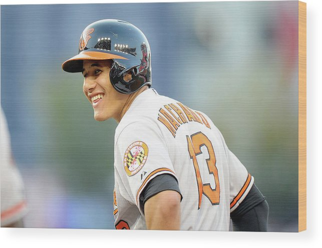 American League Baseball Wood Print featuring the photograph Manny Machado by Greg Fiume