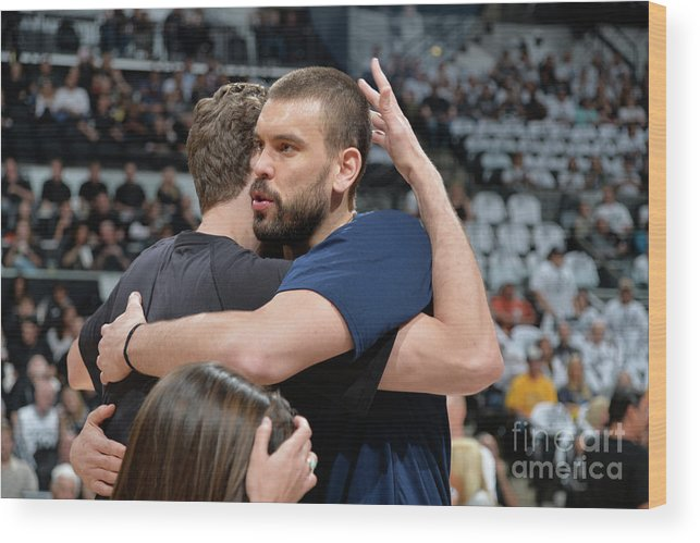 Playoffs Wood Print featuring the photograph Marc Gasol and Pau Gasol by Mark Sobhani