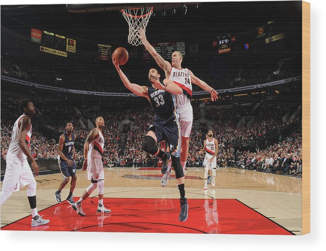 Nba Pro Basketball Wood Print featuring the photograph Marc Gasol by Cameron Browne