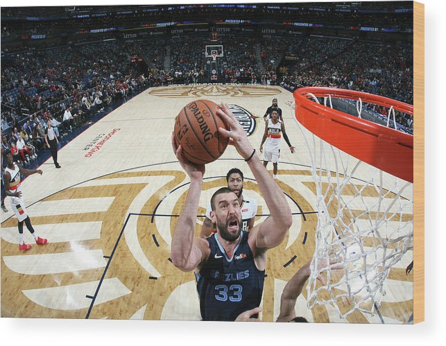 Smoothie King Center Wood Print featuring the photograph Marc Gasol by Layne Murdoch Jr.