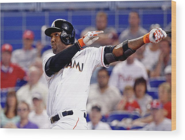American League Baseball Wood Print featuring the photograph Marcell Ozuna by Rob Foldy