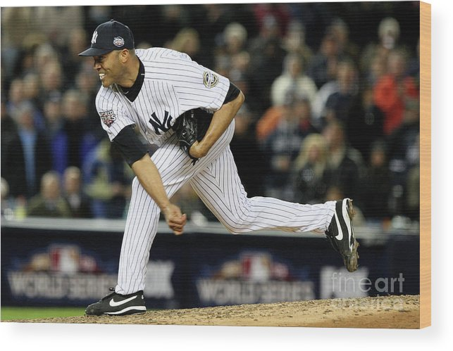 American League Baseball Wood Print featuring the photograph Mariano Rivera by Jed Jacobsohn