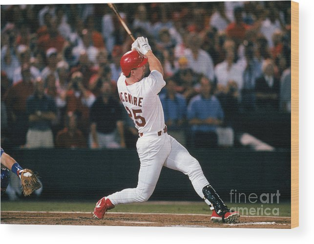 St. Louis Cardinals Wood Print featuring the photograph Mark Mcgwire And Roger Maris by Ron Vesely
