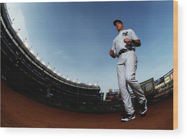 American League Baseball Wood Print featuring the photograph Mark Teixeira by Al Bello