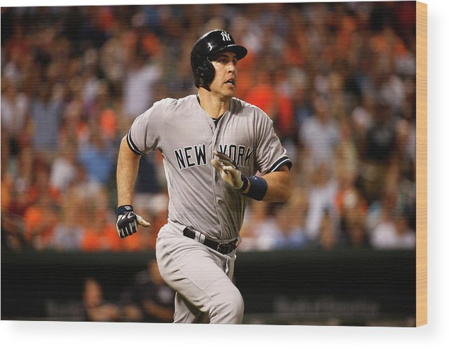 Following Wood Print featuring the photograph Mark Teixeira by Rob Carr