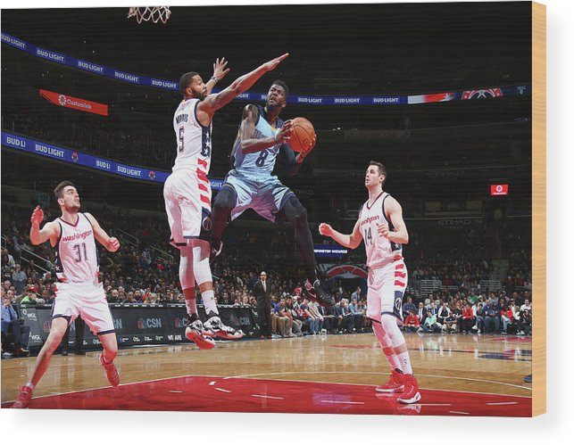 Nba Pro Basketball Wood Print featuring the photograph Markieff Morris and James Ennis by Ned Dishman