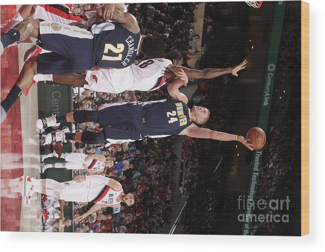 Nba Pro Basketball Wood Print featuring the photograph Mason Plumlee by Cameron Browne