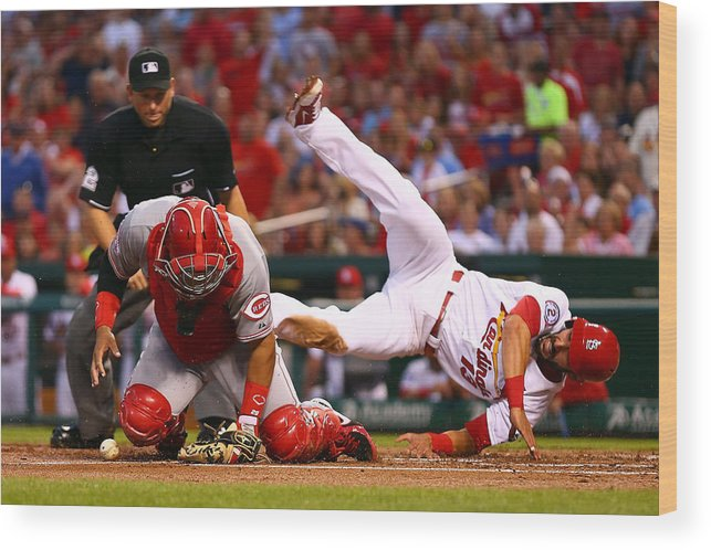 St. Louis Cardinals Wood Print featuring the photograph Matt Carpenter and Brayan Pena by Dilip Vishwanat