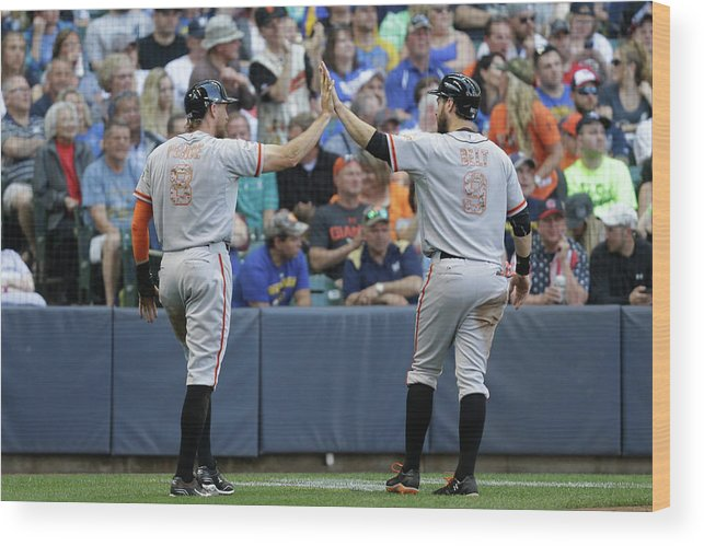 People Wood Print featuring the photograph Matt Duffy, Hunter Pence, and Brandon Belt by Mike Mcginnis